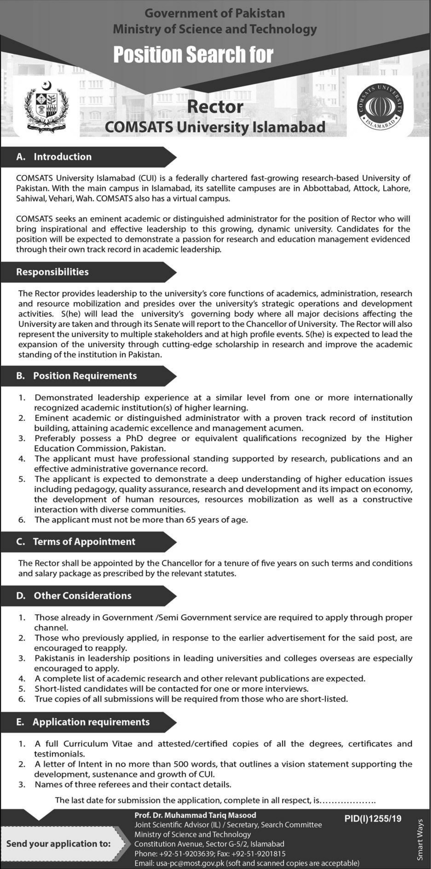 Ministry of Science & Technology Government of Pakistan Jobs 2019