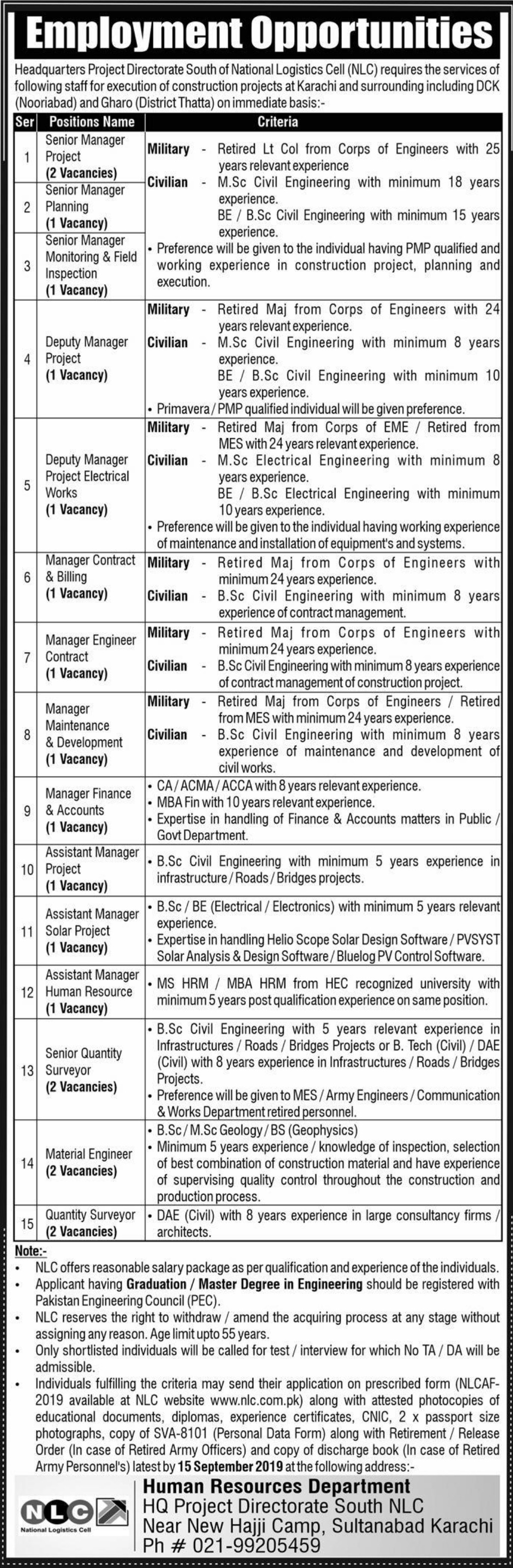 National Logistics Cell NLC Jobs 2019 Application Form