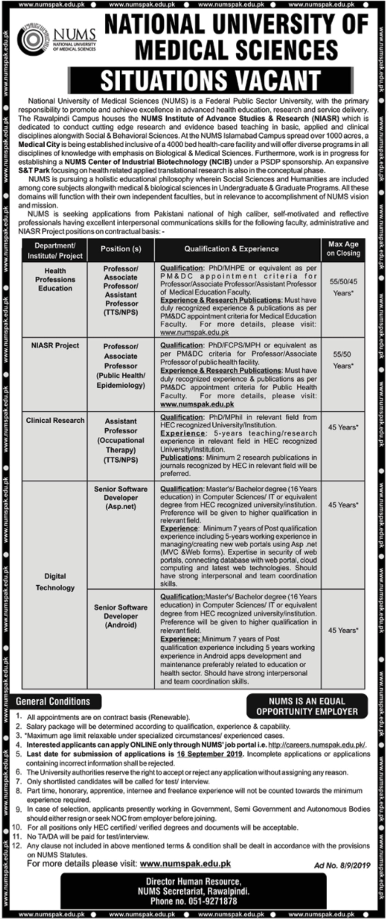 National University of Medical Sciences NUMS Jobs 2019 Apply Online
