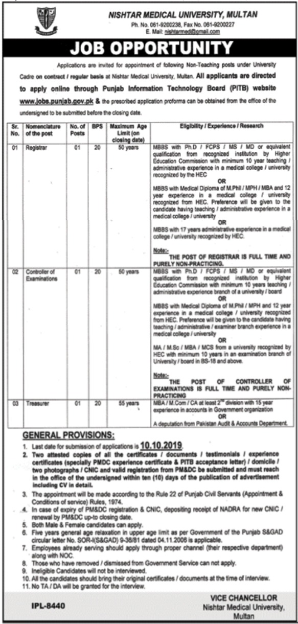 Nishtar Medical University Multan Jobs 2019 Apply Online