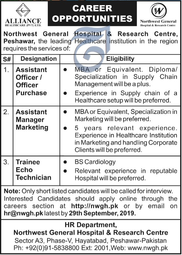 Northwest General Hospital & Research Centre Peshawar Jobs 2019