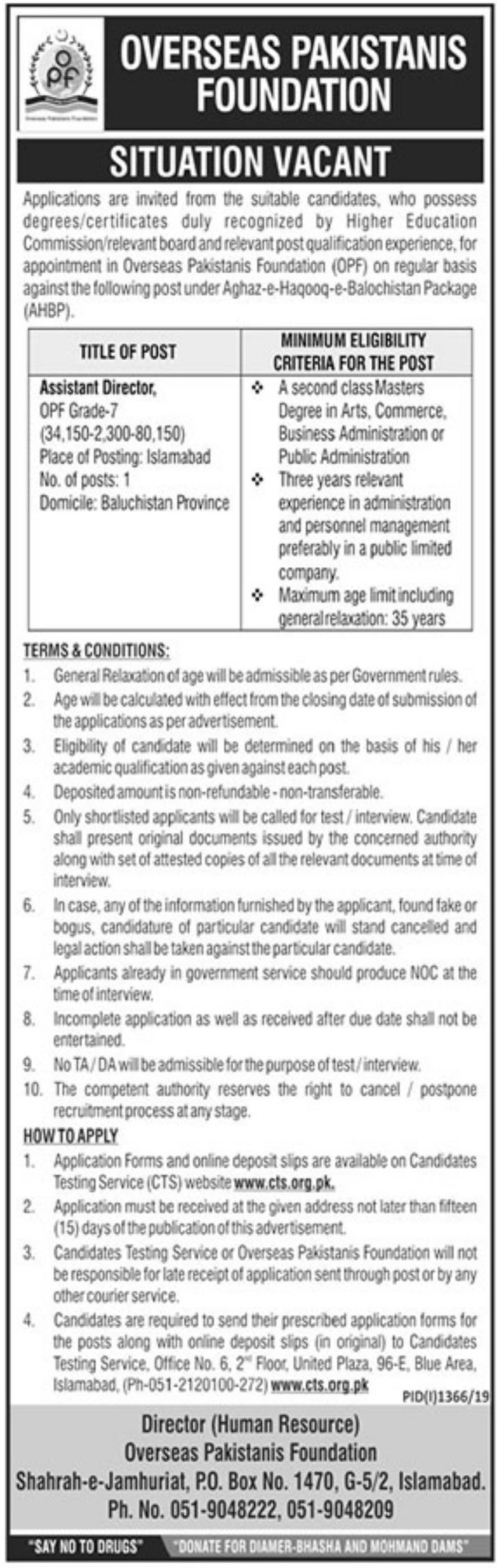 Overseas Pakistanis Foundation OPF Jobs 2019 CTS Application Form