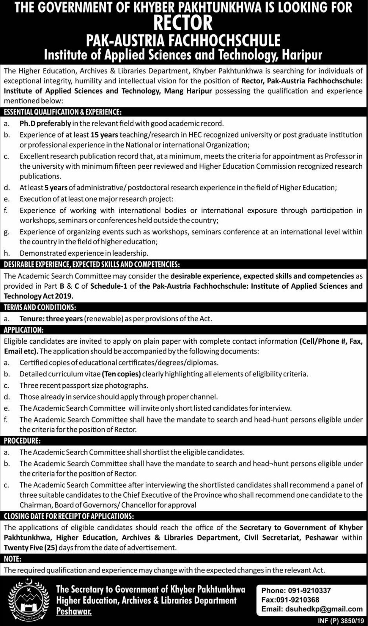 PAF Institute of Applied Sciences & Technology Haripur Jobs 2019