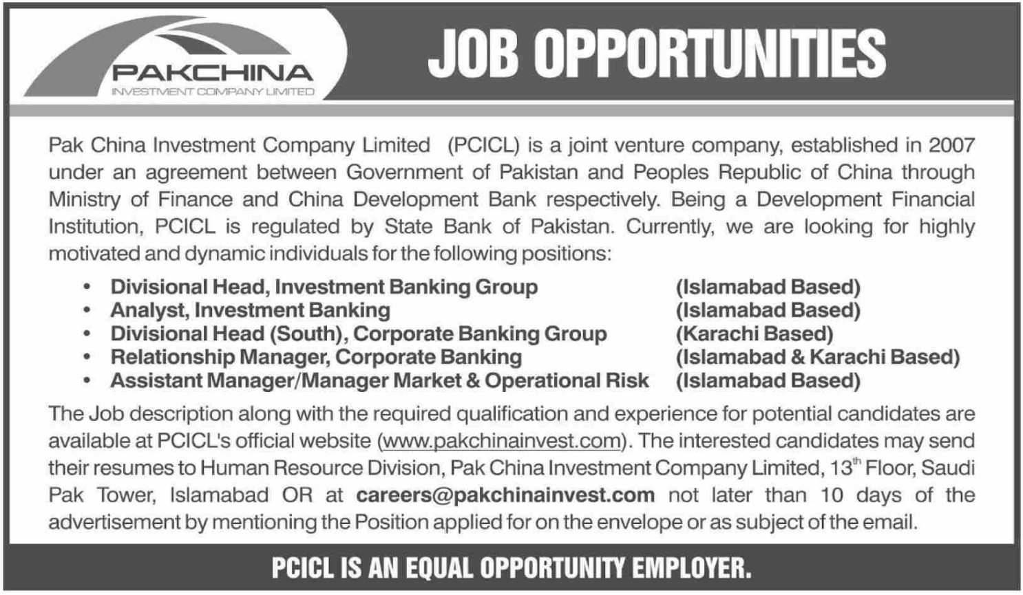 Pak China Investment Company Limited PCICL Jobs 2019