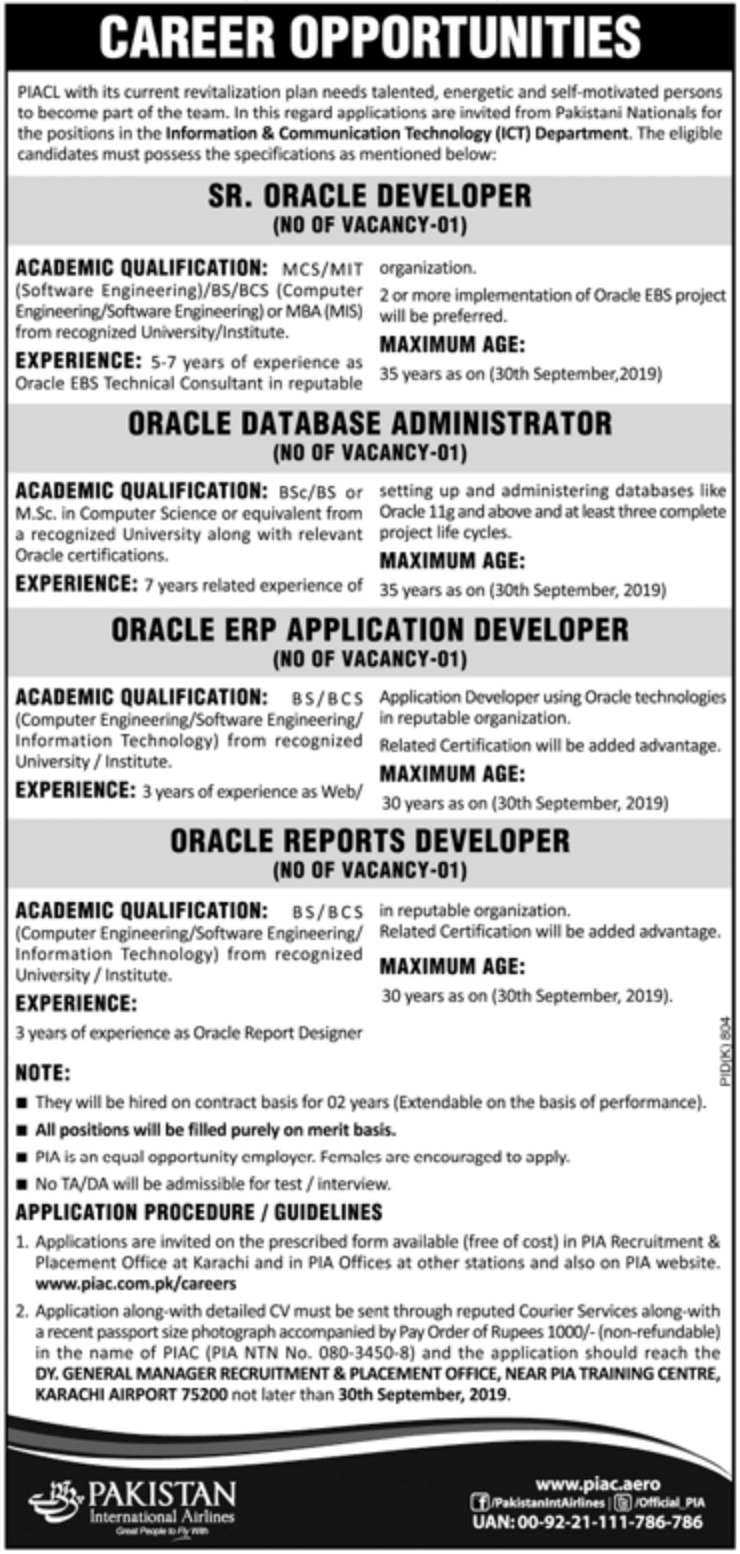 Pakistan International Airlines PIA Jobs 2019 Application Form(2)
