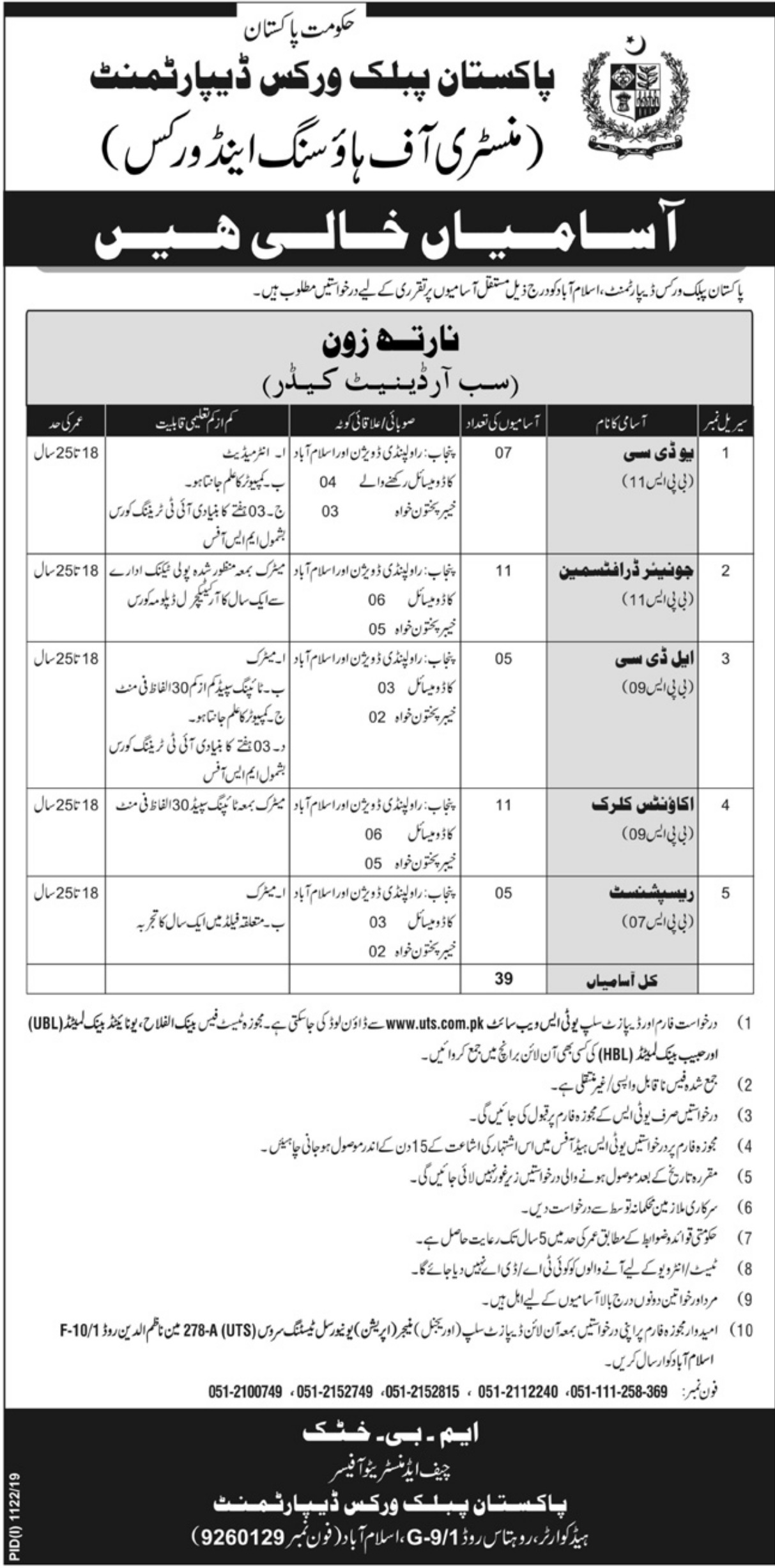 Pakistan Public Works Department PWD Jobs 2019 UTS Application Form