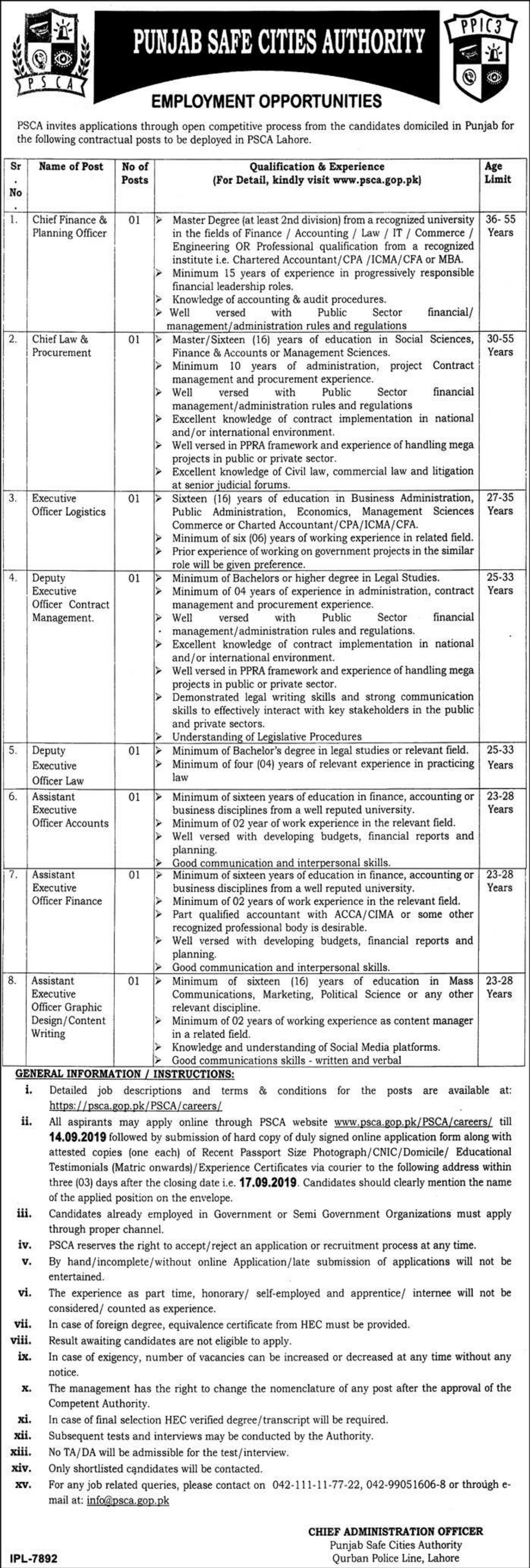 Punjab Safe Cities Authority PSCA Jobs 2019 Latest Apply Online