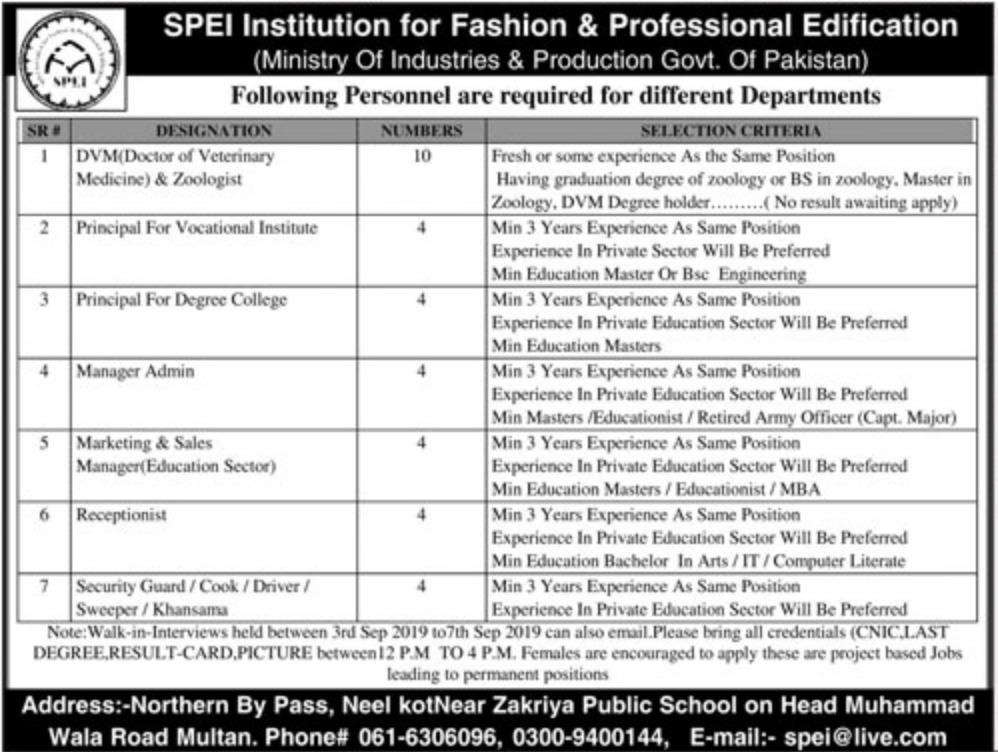 SPEI Institution for Fashion & Professional Edification Multan Jobs 2019