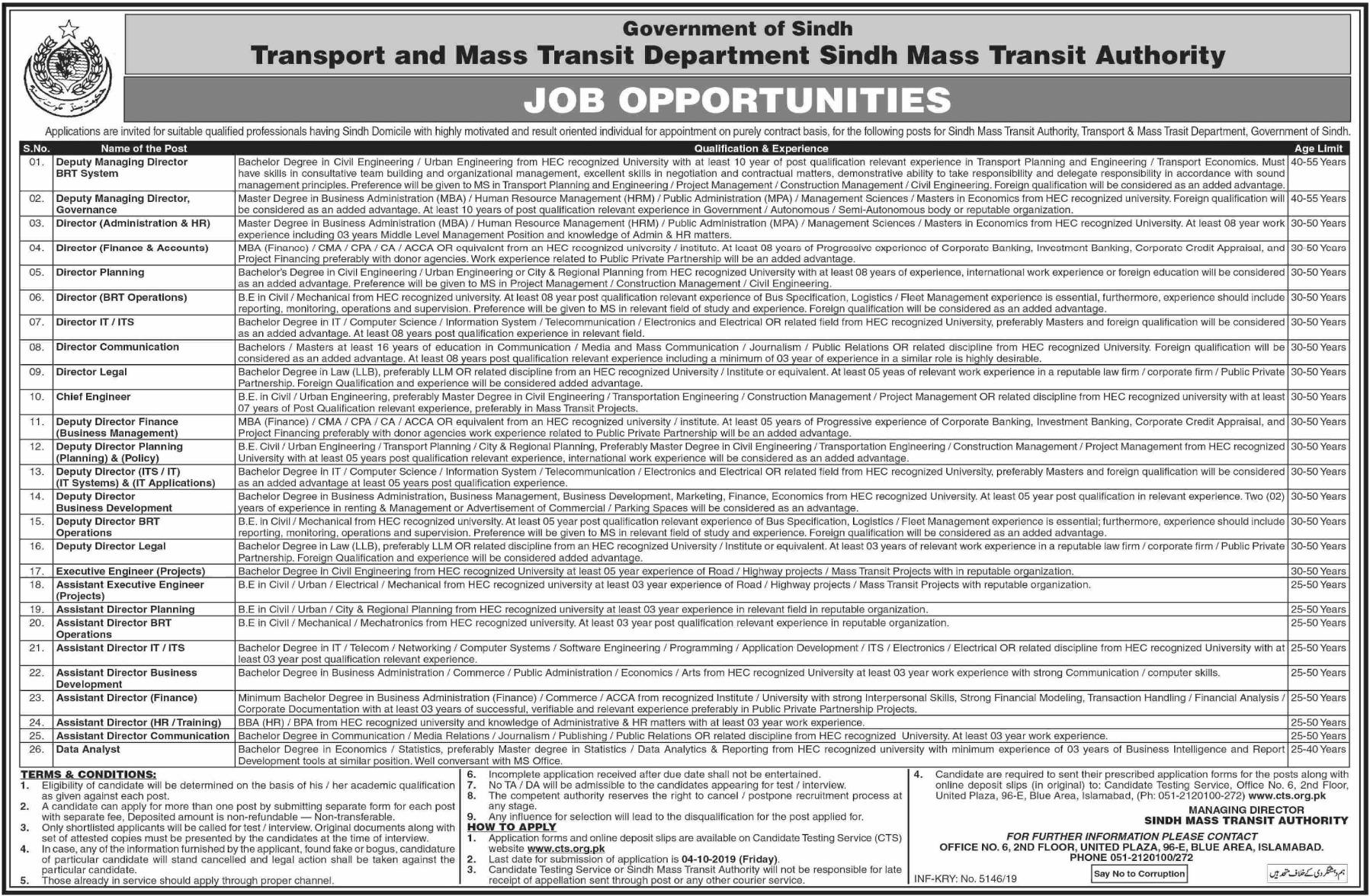 Sindh Mass Transit Authority Jobs 2019 CTS Application Form