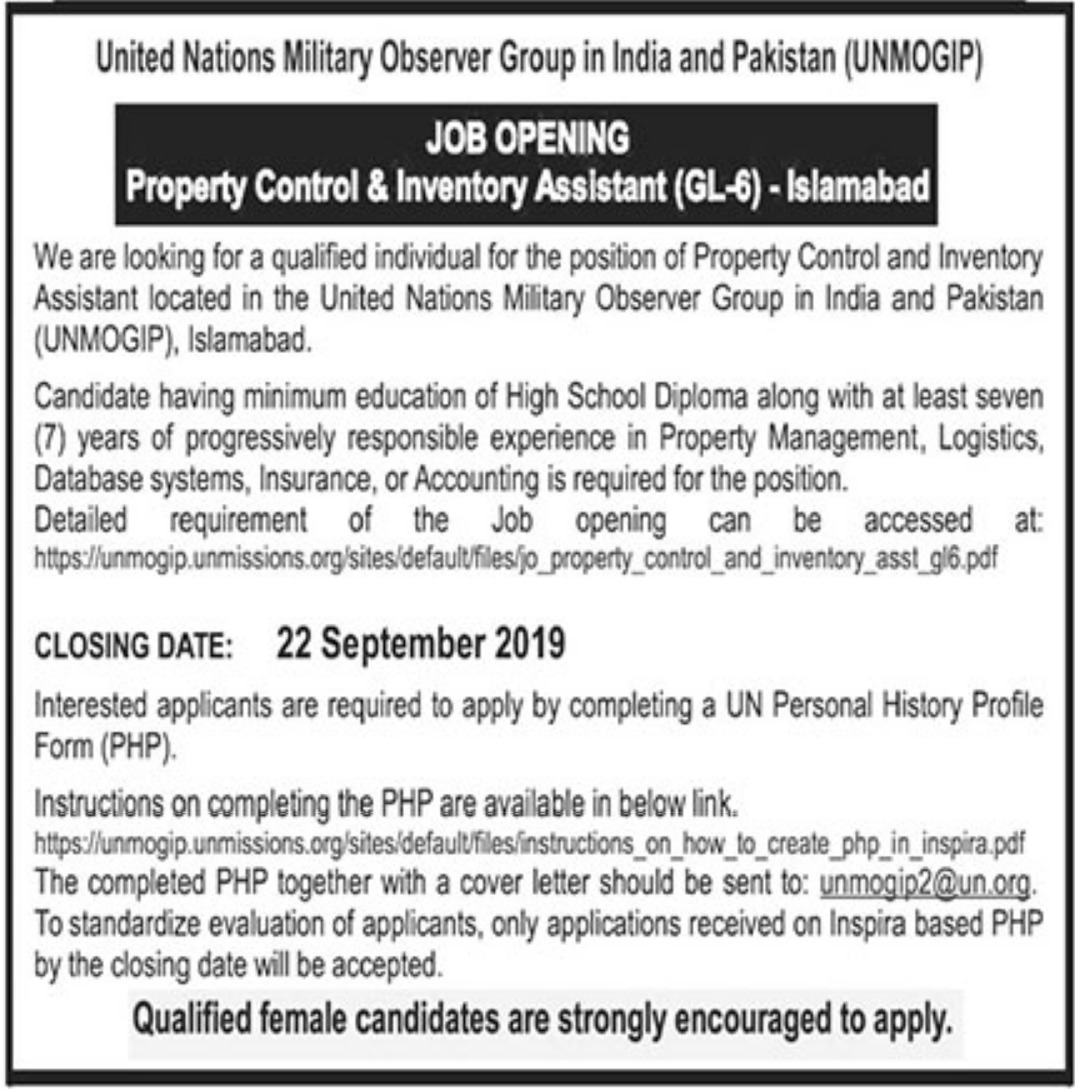 United Nations Military Observer Group in India & Pakistan UNMOGIP Jobs 2019 Islamabad