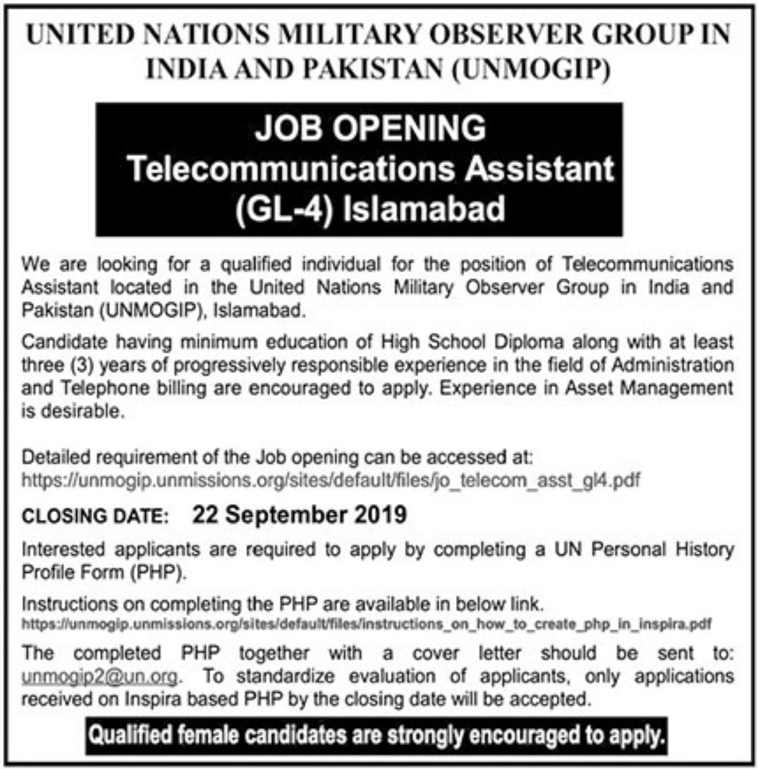 United Nations Military Observer Group in India & Pakistan UNMOGIP Jobs 2019