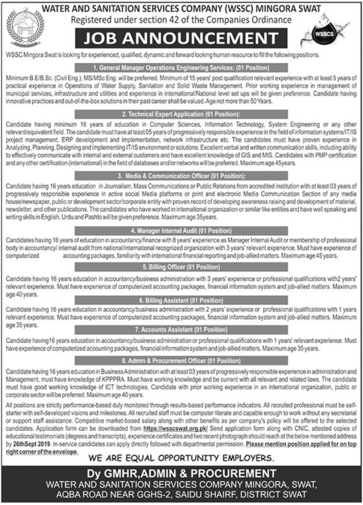 Water and Sanitation Services Company WSSC Mingora Swat Jobs 2019 Application Form