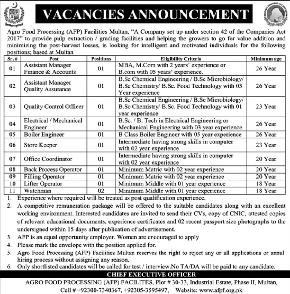 Agro Food Processing AFP Facilities Multan Jobs 2019