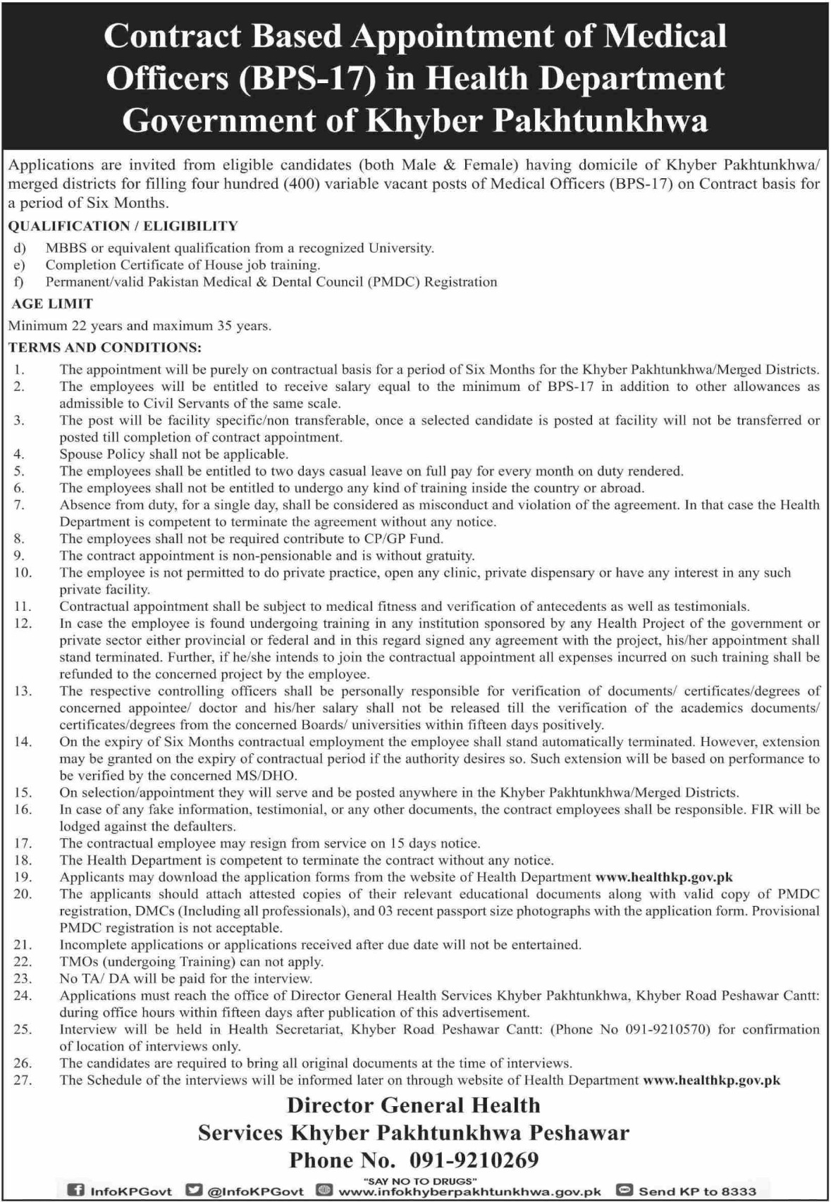 Health Department Government of Khyber Pakhtunkhwa Jobs 2019