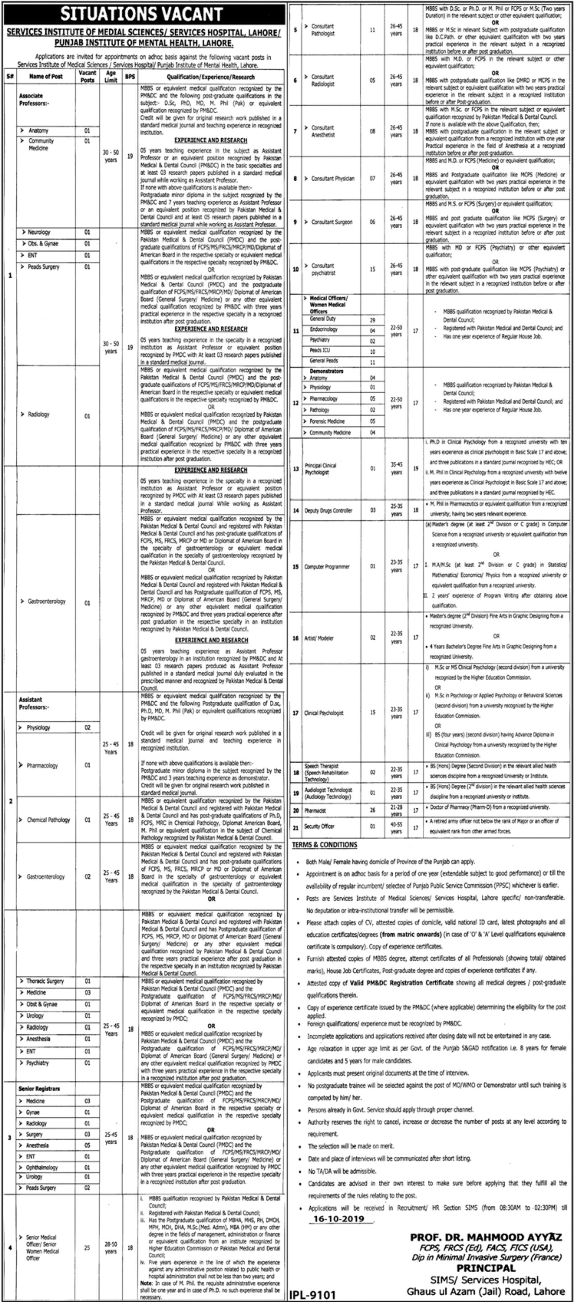 Services Hospital Lahore Jobs 2019