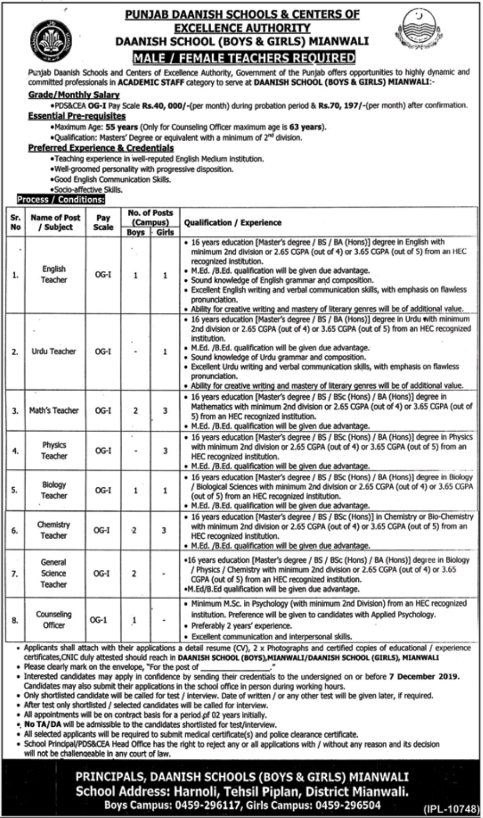 Punjab Daanish Schools & Centers of Excellence Authority Jobs 2019