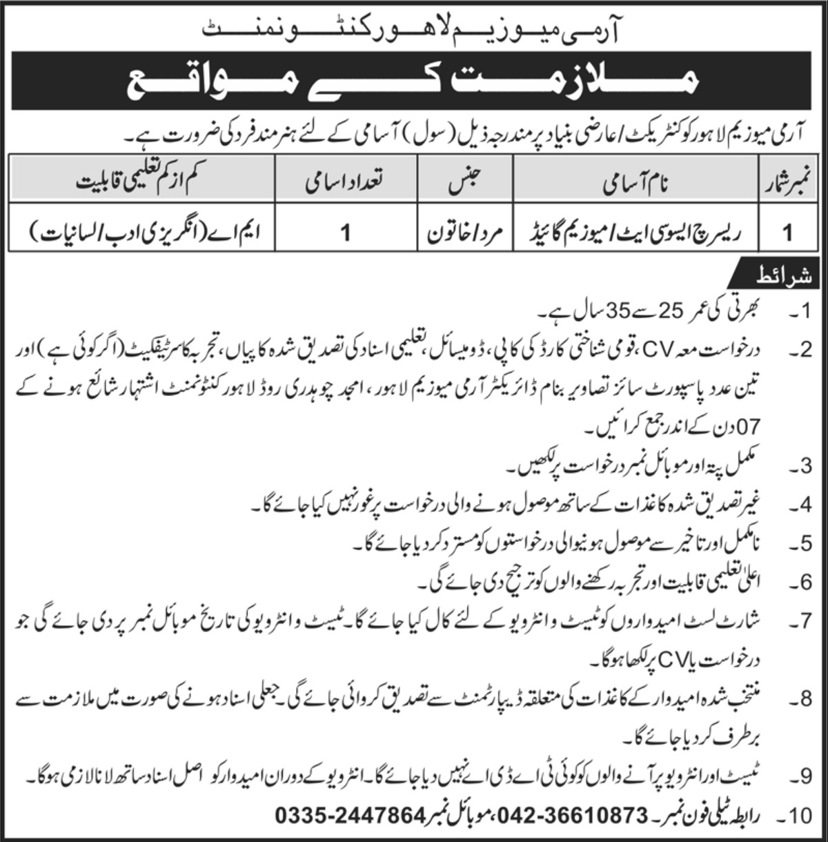 Army Museum Lahore Cantt Jobs 2019