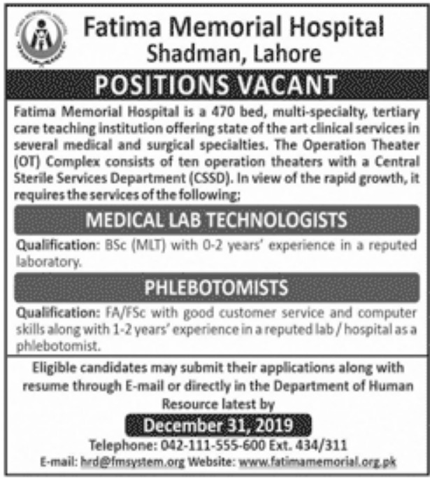Fatima Memorial Hospital Shadman Lahore Jobs 2019