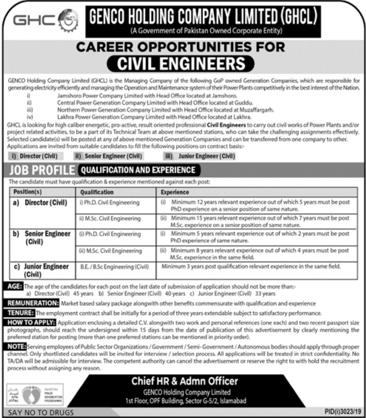 Genco Holding Company Limited GHCL Jobs 2019