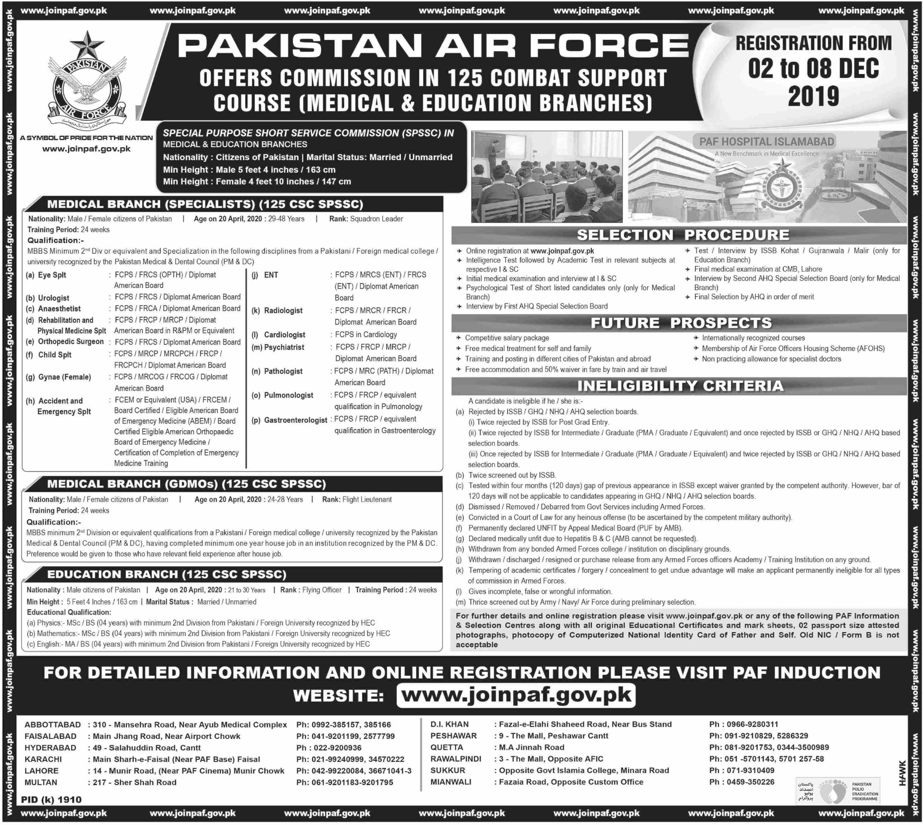 Join Pakistan Air Force PAF Medical & Education Branches 2019