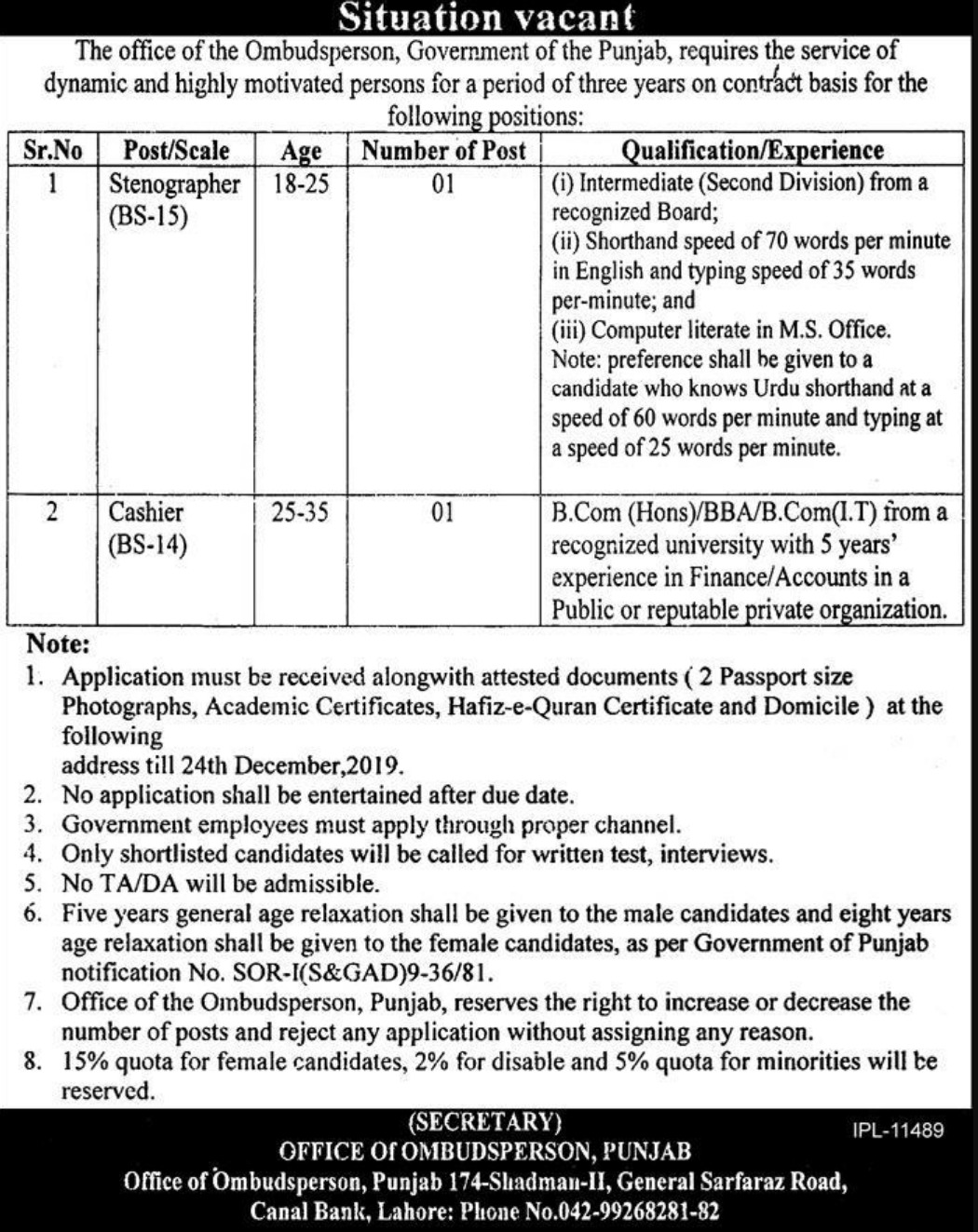 Ombudsperson Government of Punjab Jobs 2019