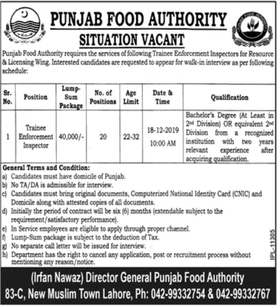 PFA Jobs 2019 Punjab Food Authority