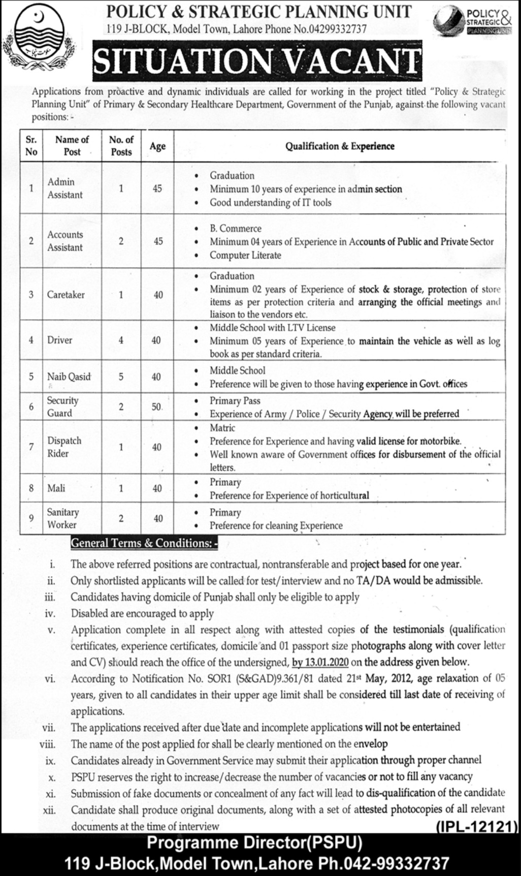 Policy & Strategic Planning Unit Government of Punjab Jobs 2020