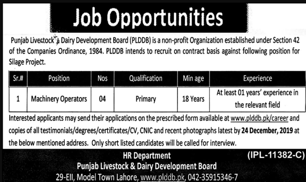 Punjab Livestock & Dairy Development Board Jobs 2019