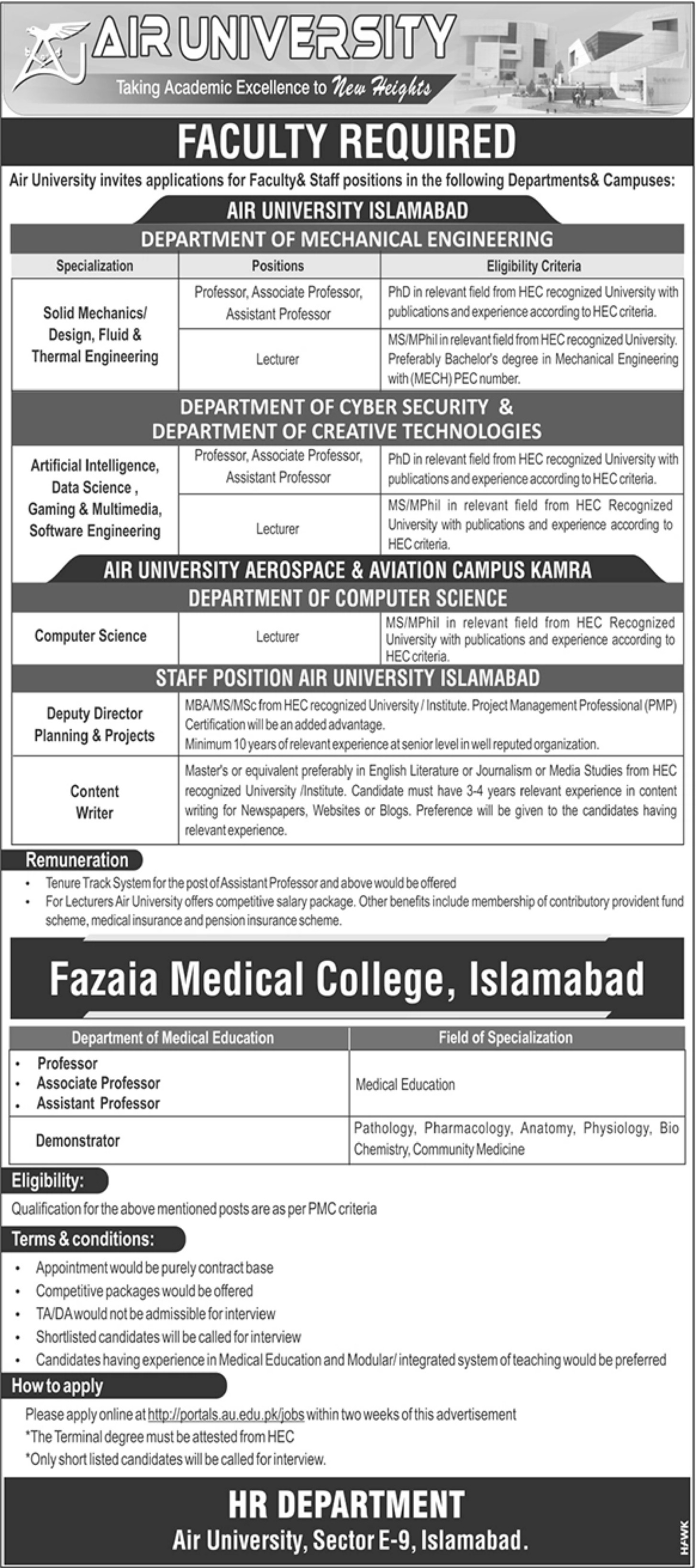Air University Islamabad Jobs 2020 Faculty & Staff Positions