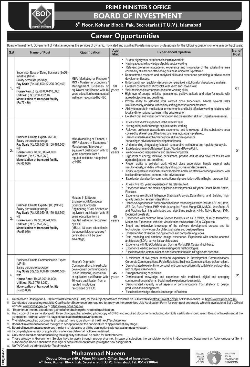 Board of Investment Jobs 2020 Prime Minister Office Islamabad