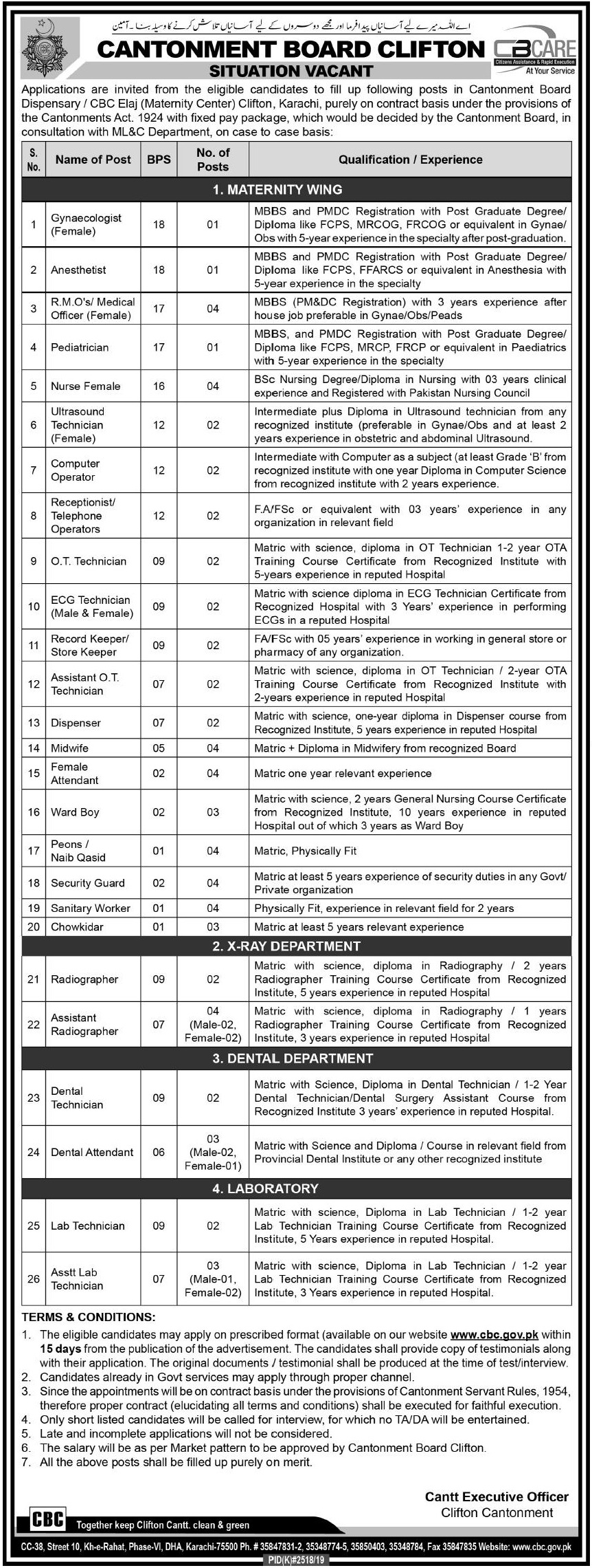 Cantonment Board Clifton Karachi Jobs 2020 Pakistan