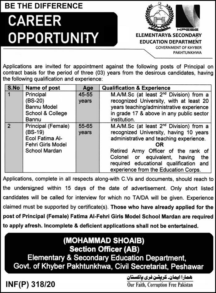 ESED Government of Khyber Pakhtunkhwa Jobs 2020 Elementary & Secondary Education Department