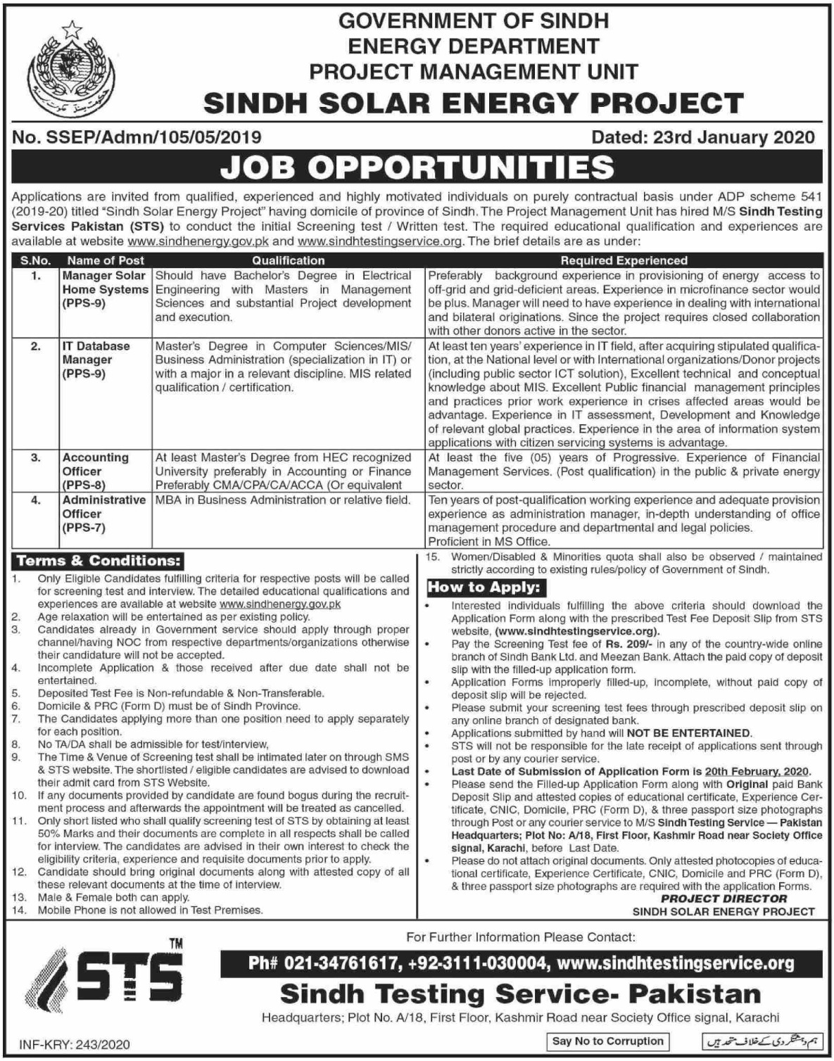 Energy Department Government of Sindh Jobs 2020