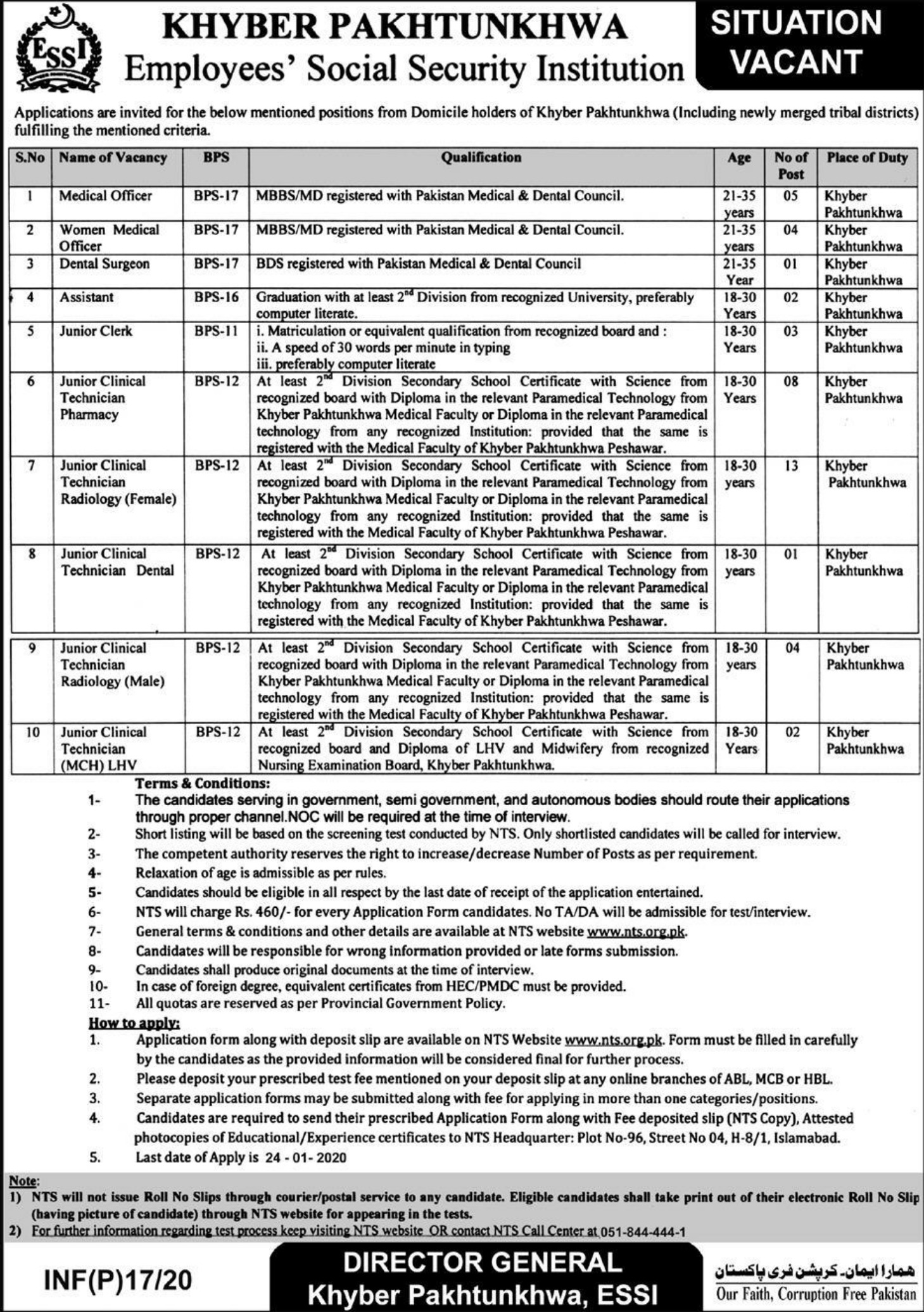 KPK ESSI Jobs 2020 Khyber Pakhtunkhwa Employees Social Security Institution