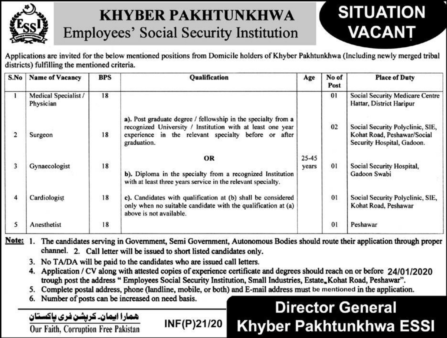 Khyber Pakhtunkhwa Employees Social Security Institution Jobs 2020
