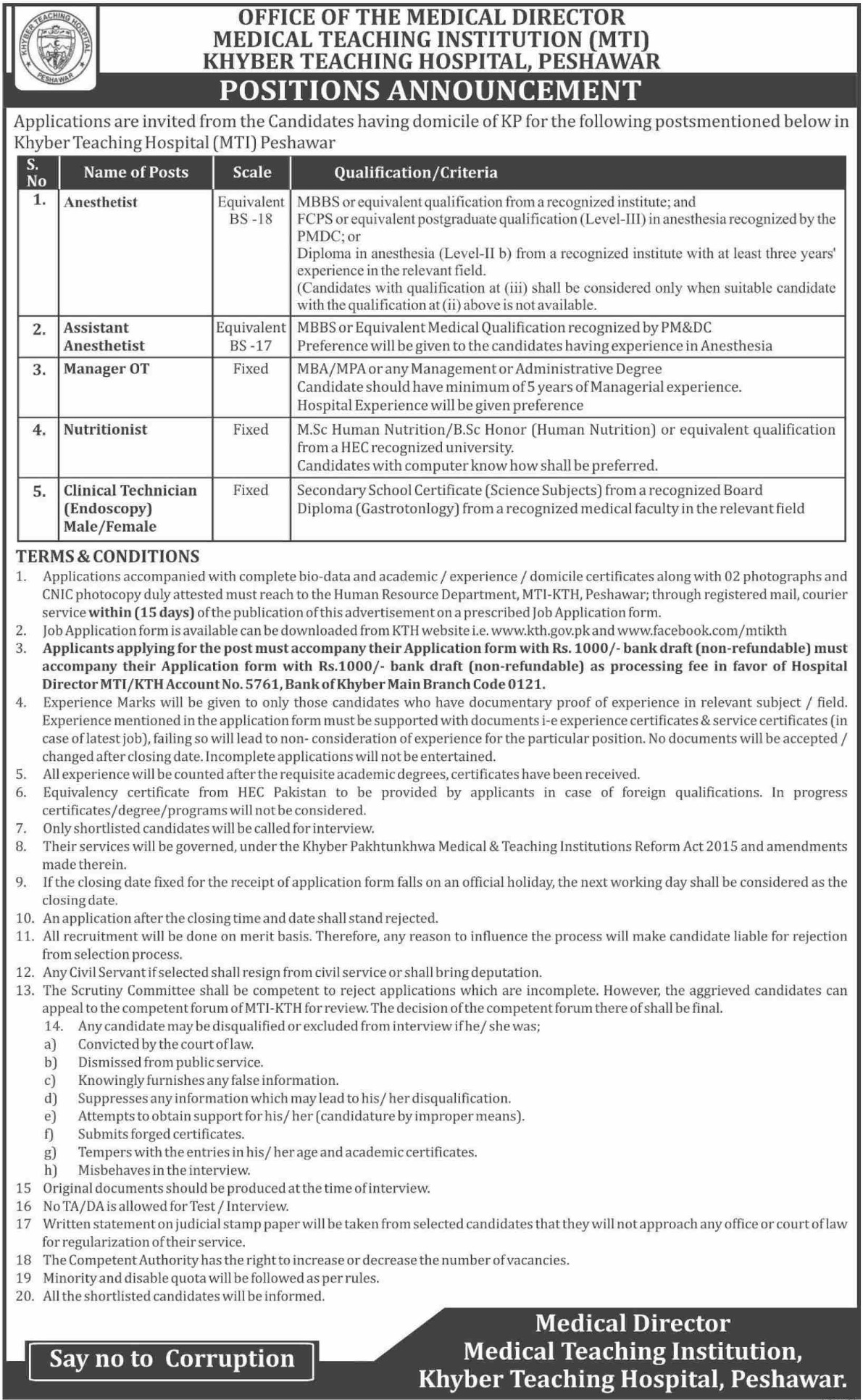 Khyber Teaching Hospital KTH Peshawar Jobs 2020
