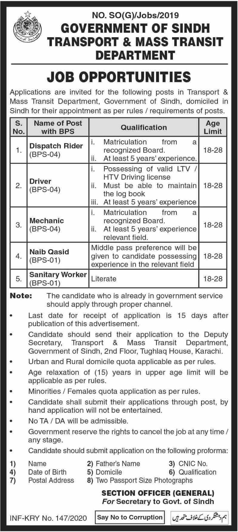 Transport & Mass Transit Department Government of Sindh Jobs 2020