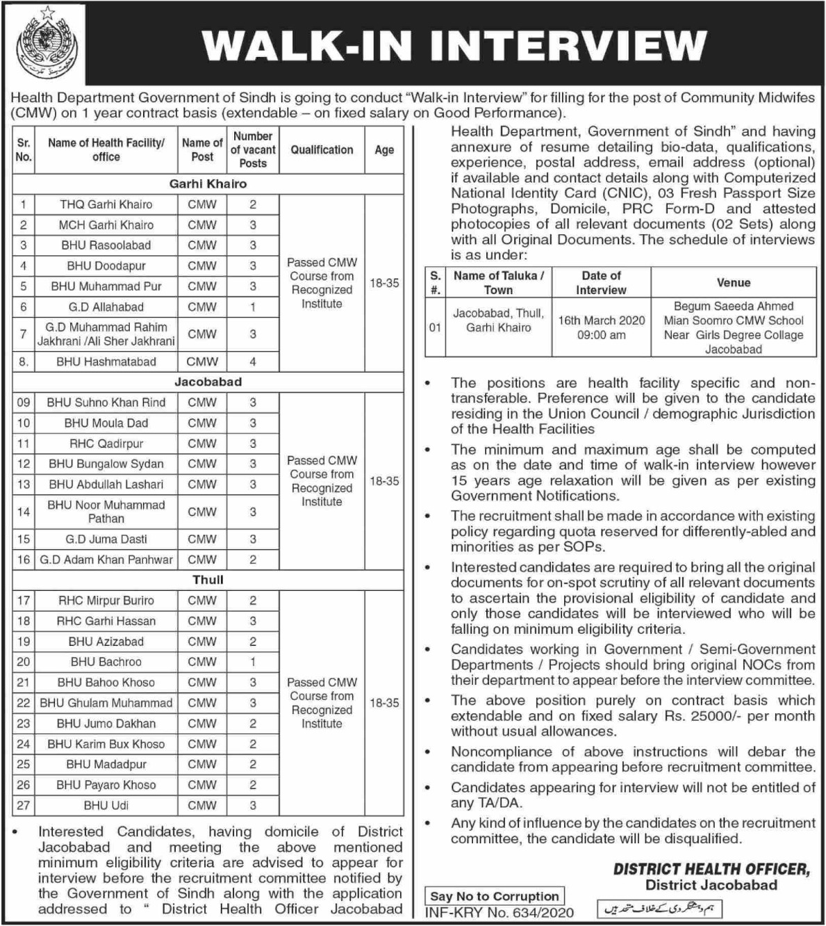 Health Department Government of Sindh Jobs 2020 District Health Officer Jacobabad