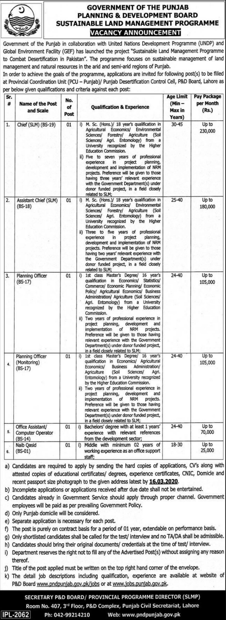 Planning & Development Board Government of Punjab Jobs 2020