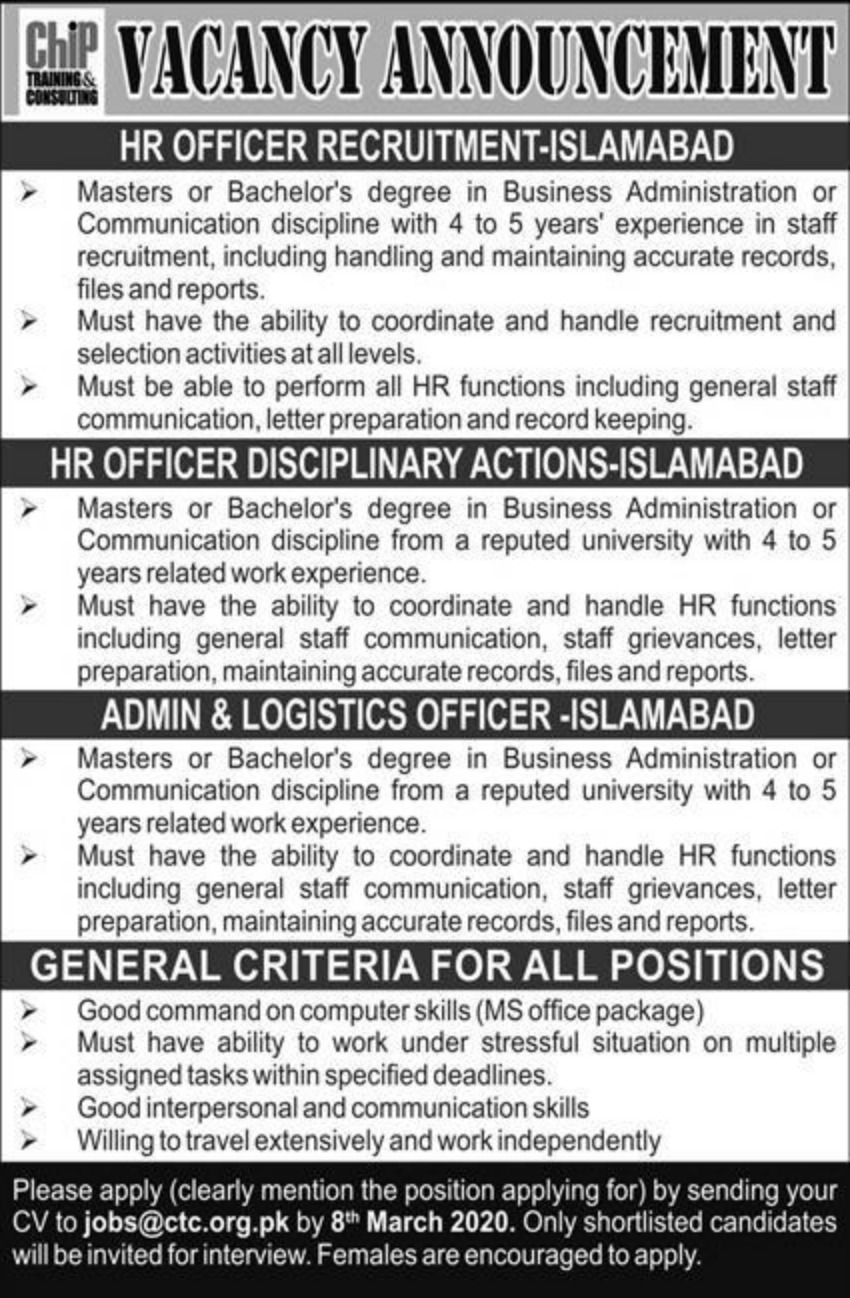 Chip Training & Consulting Pvt Limited Jobs 2020 CTC Islamabad