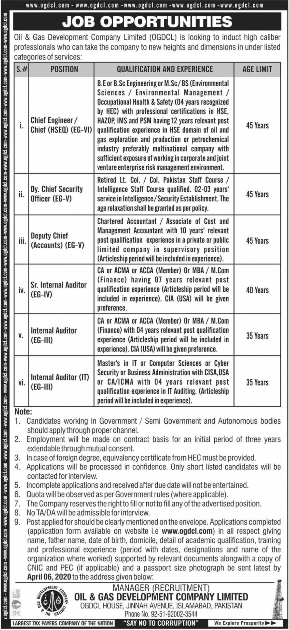 OGDCL Jobs 2020 Oil & Gas Development Company Limited
