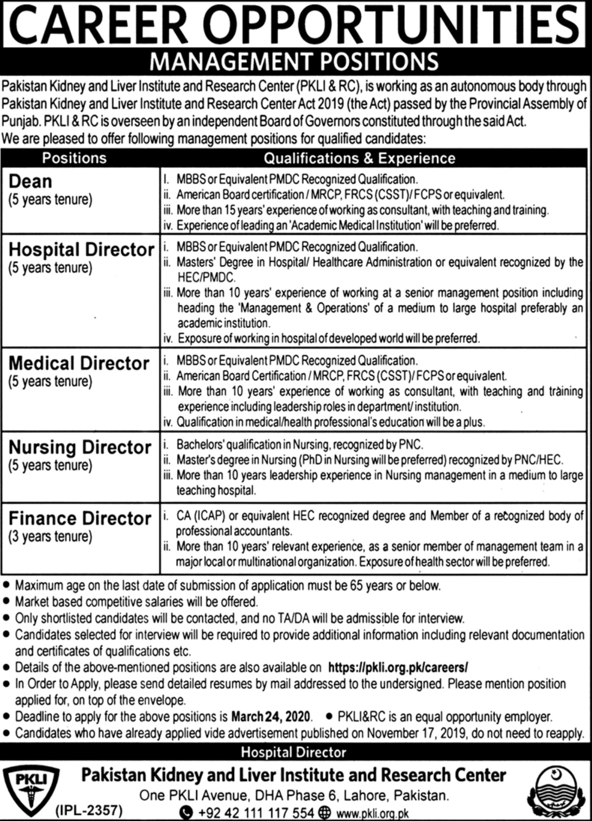 Pakistan Kidney & Liver Institute and Research Center PKLI &RC Jobs 2020