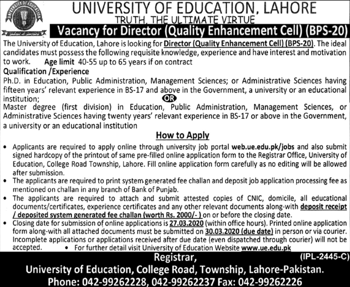 University of Education Lahore Jobs 2020