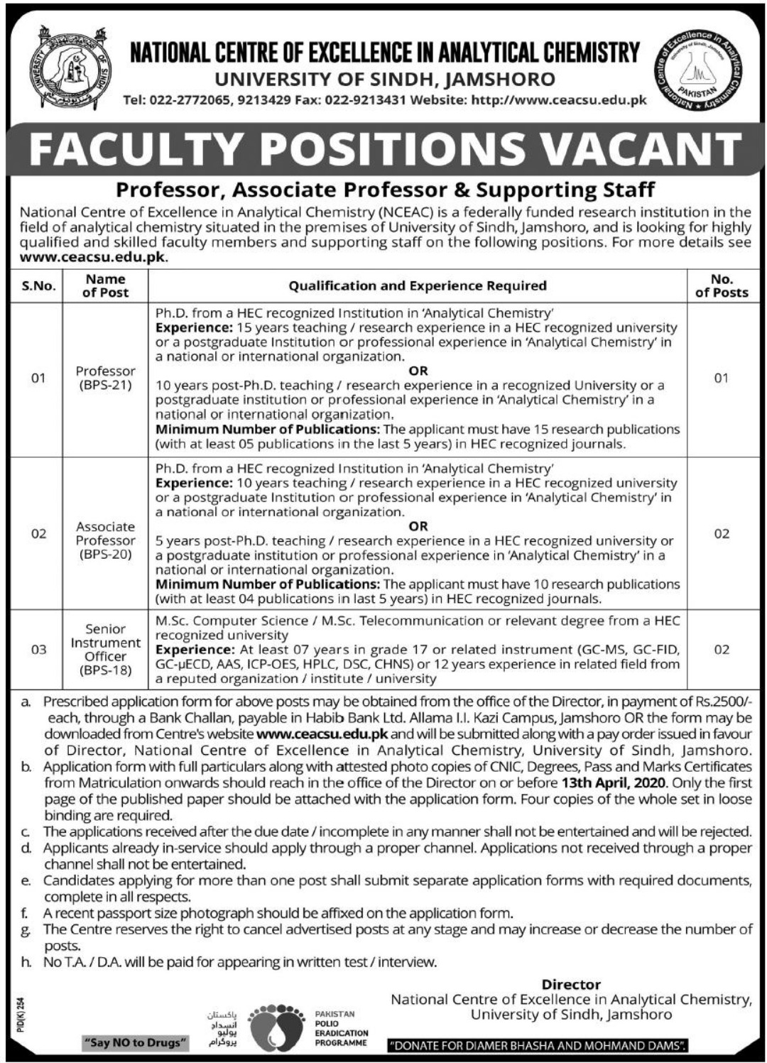 University of Sindh Jamshoro Jobs 2020