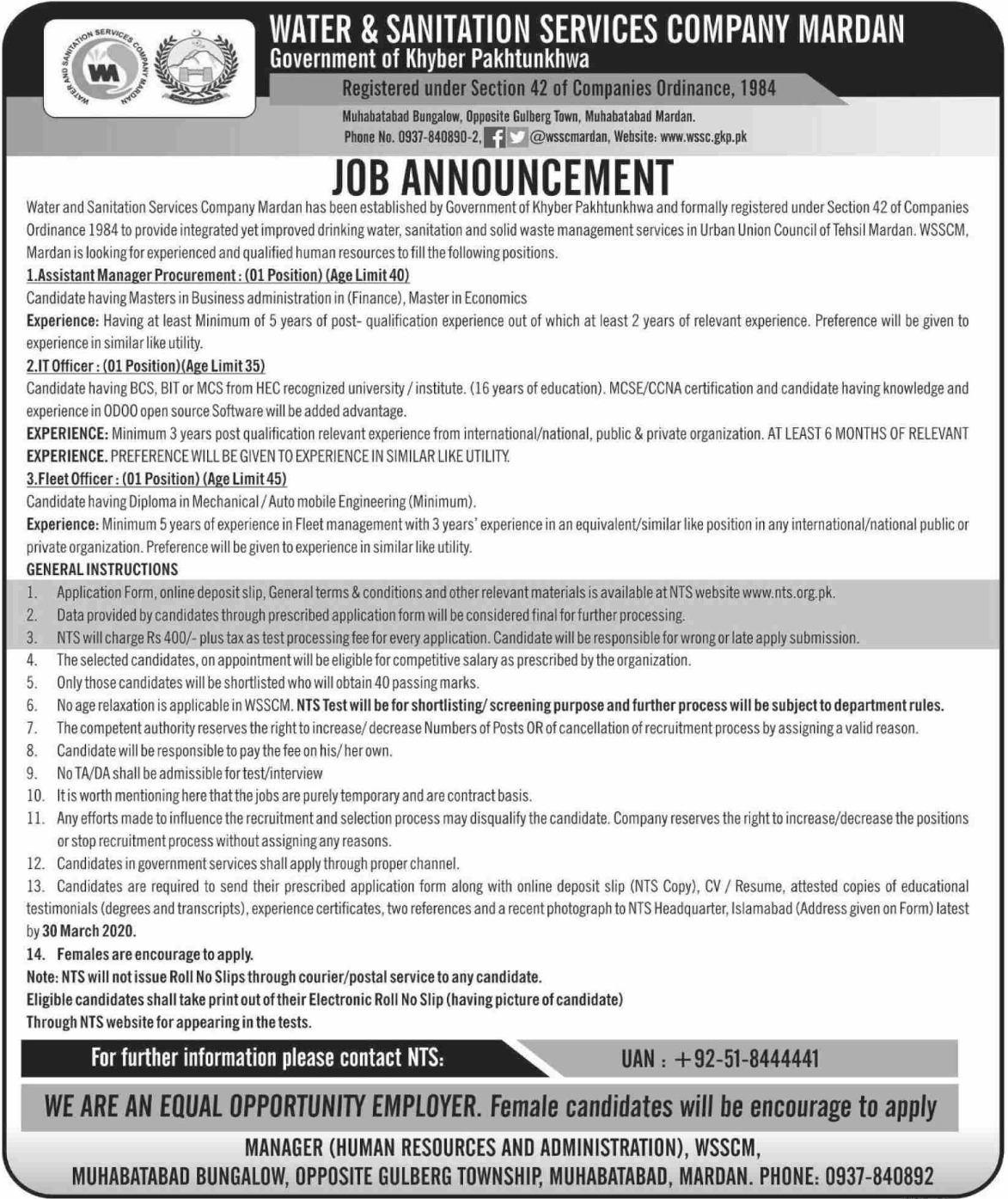 Water & Sanitation Services Company Mardan Jobs 2020 Apply via NTS