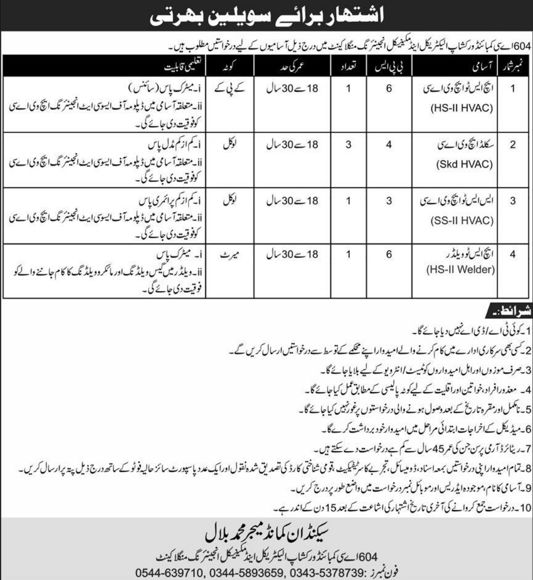 604 AC Combined Workshop Electrical & Mechanical Engineering Mangla Cantt Jobs August 2020