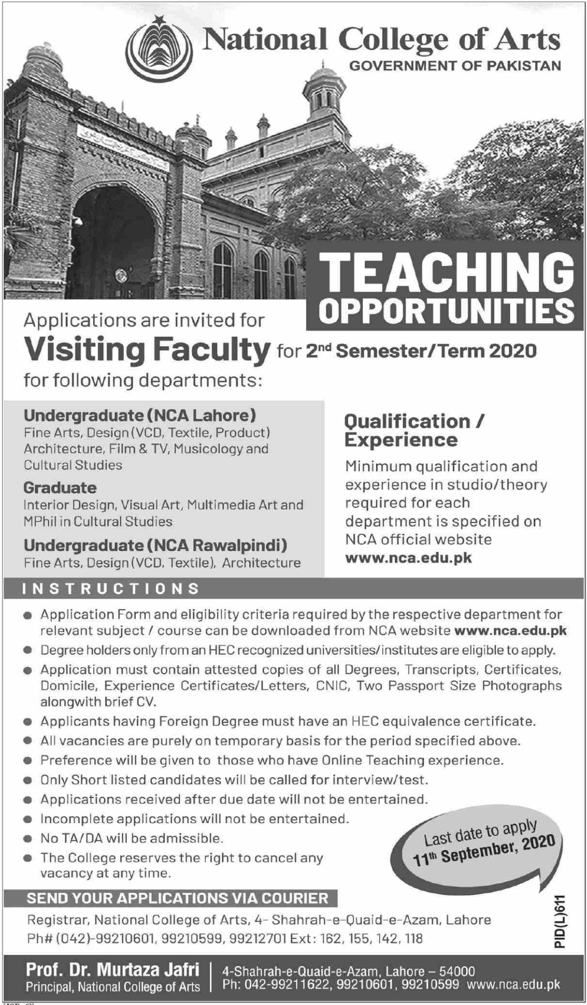 NCA Lahore Jobs August 2020 National College of Arts