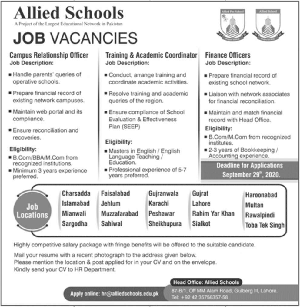 Allied Schools Jobs September 2020