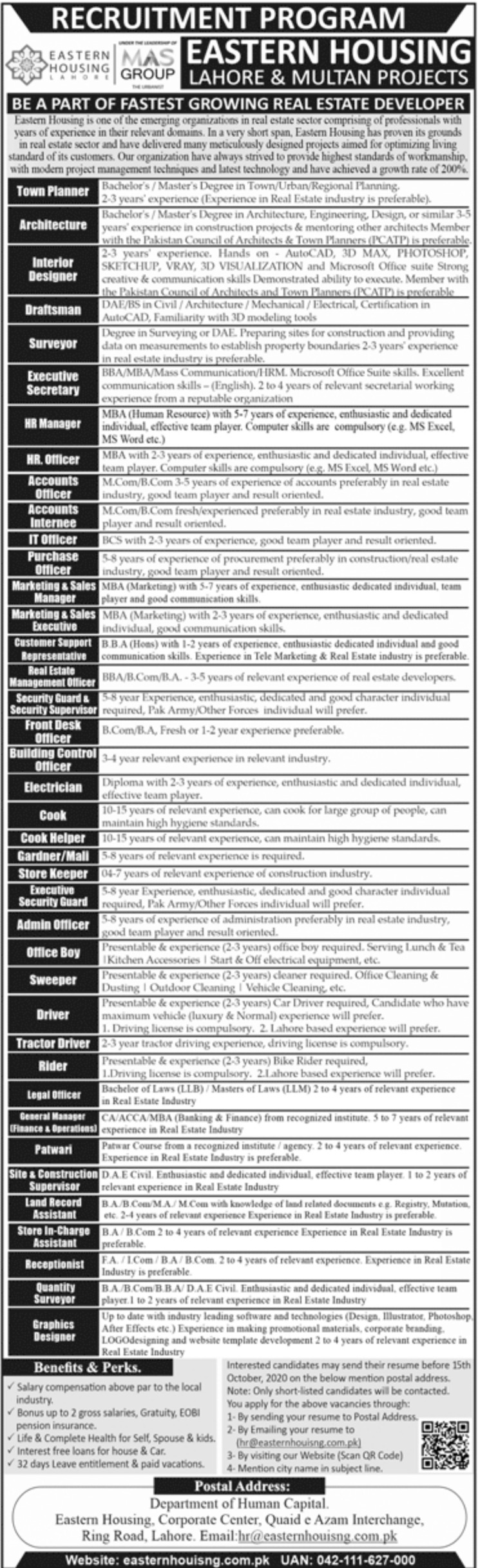 Eastern Housing Lahore Jobs September 2020