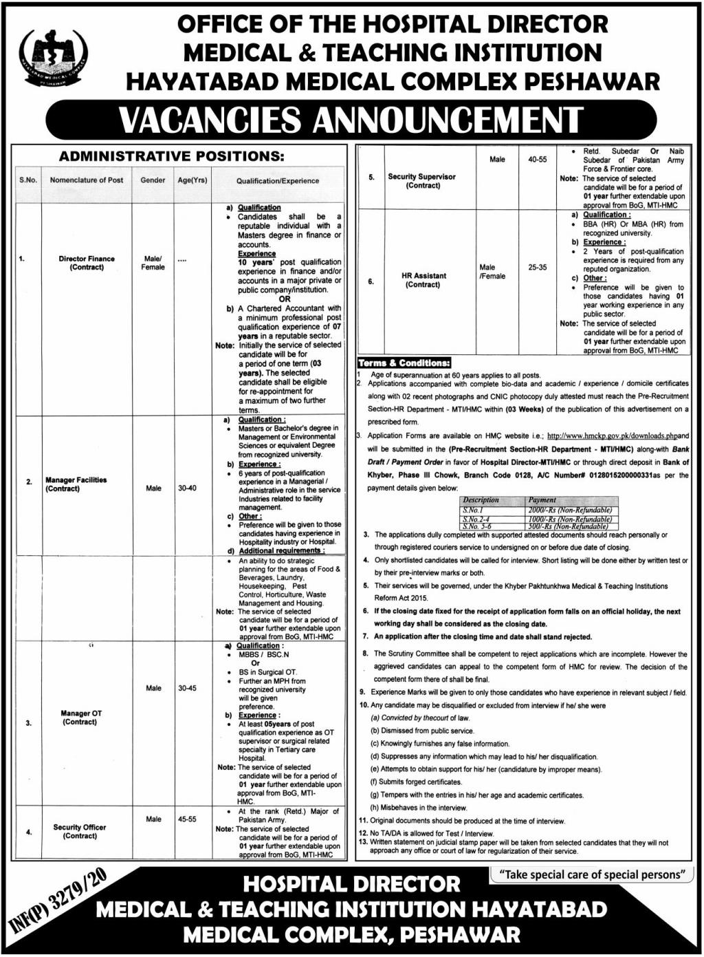 Hayatabad Medical Complex HMC Peshawar Jobs September 2020